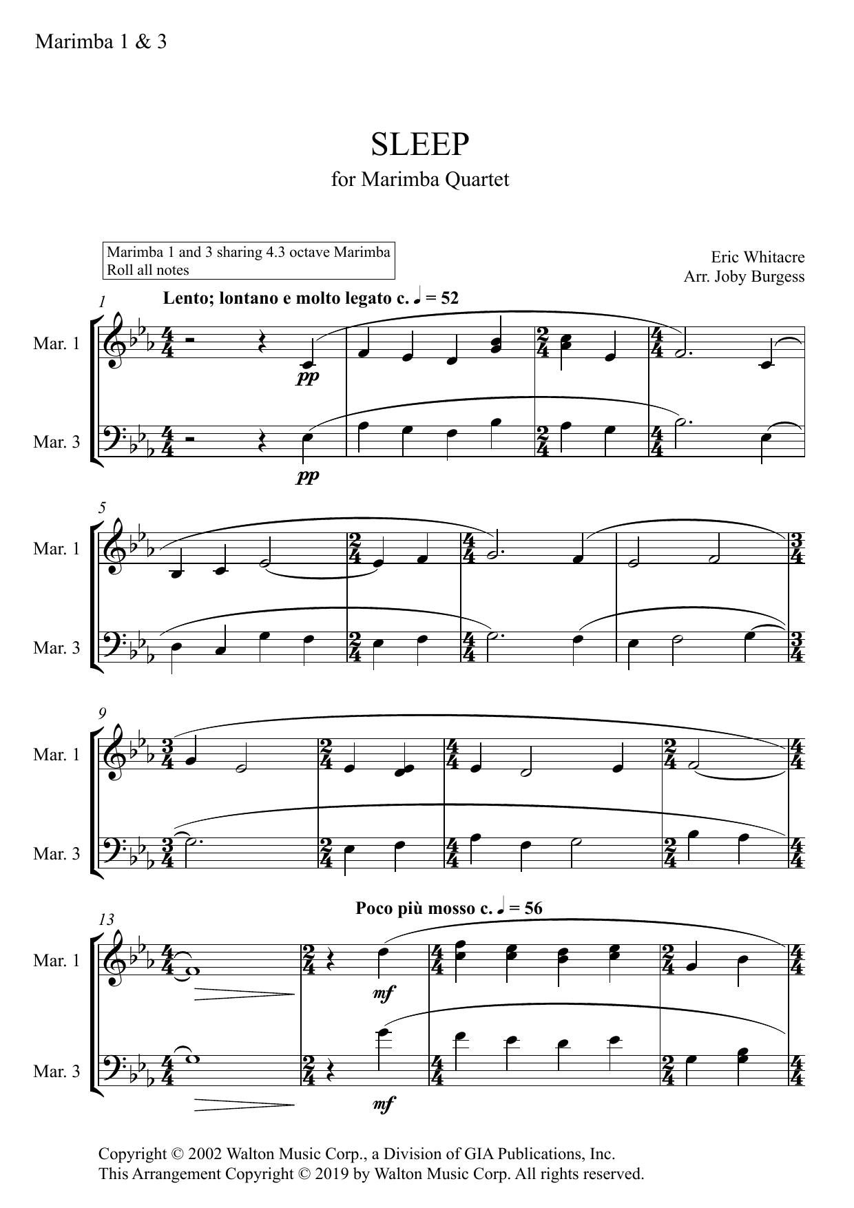 Sleep for Marimba Quartet (arr. Joby Burgess) - MARIMBA 1 & 3 Partituras Digitales