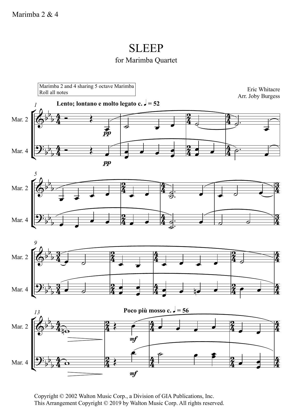 Sleep for Marimba Quartet (arr. Joby Burgess) - MARIMBA 2 & 4 Sheet Music