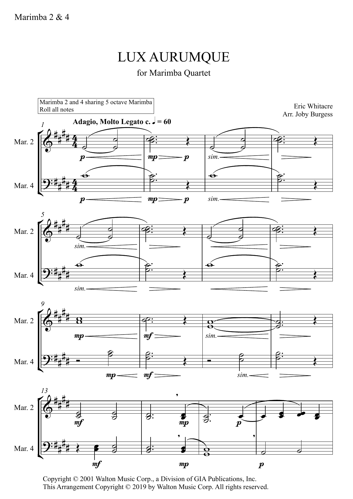 Lux Aurumque for Marimba Quartet (arr. Joby Burgess) - MARIMBA 2 & 4 Sheet Music