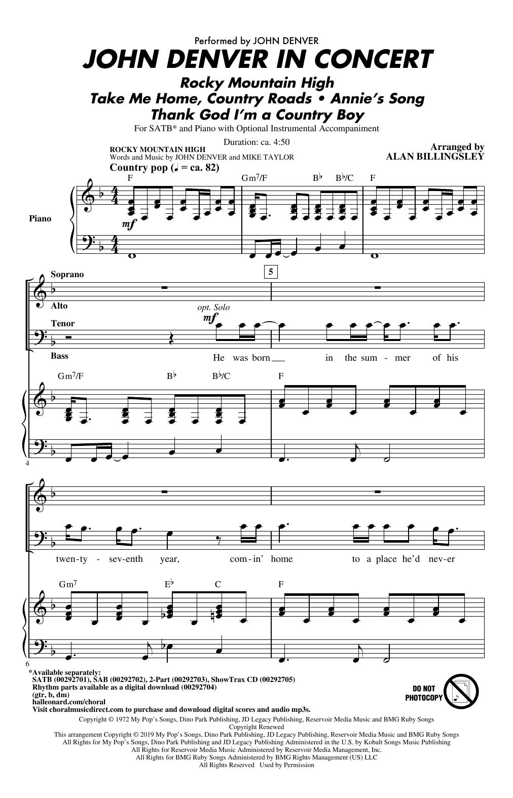 John Denver In Concert (arr. Alan Billingsley) (SATB Choir)