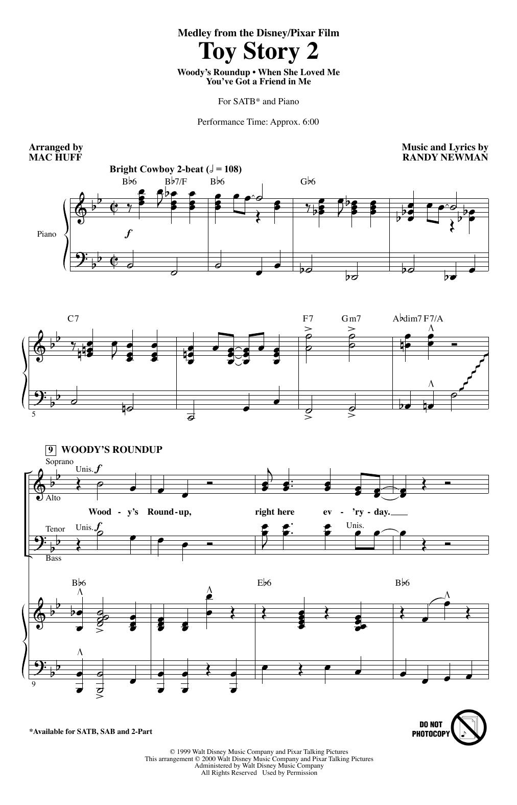 Toy Story 2 (Medley) (arr. Mac Huff) (SATB Choir)