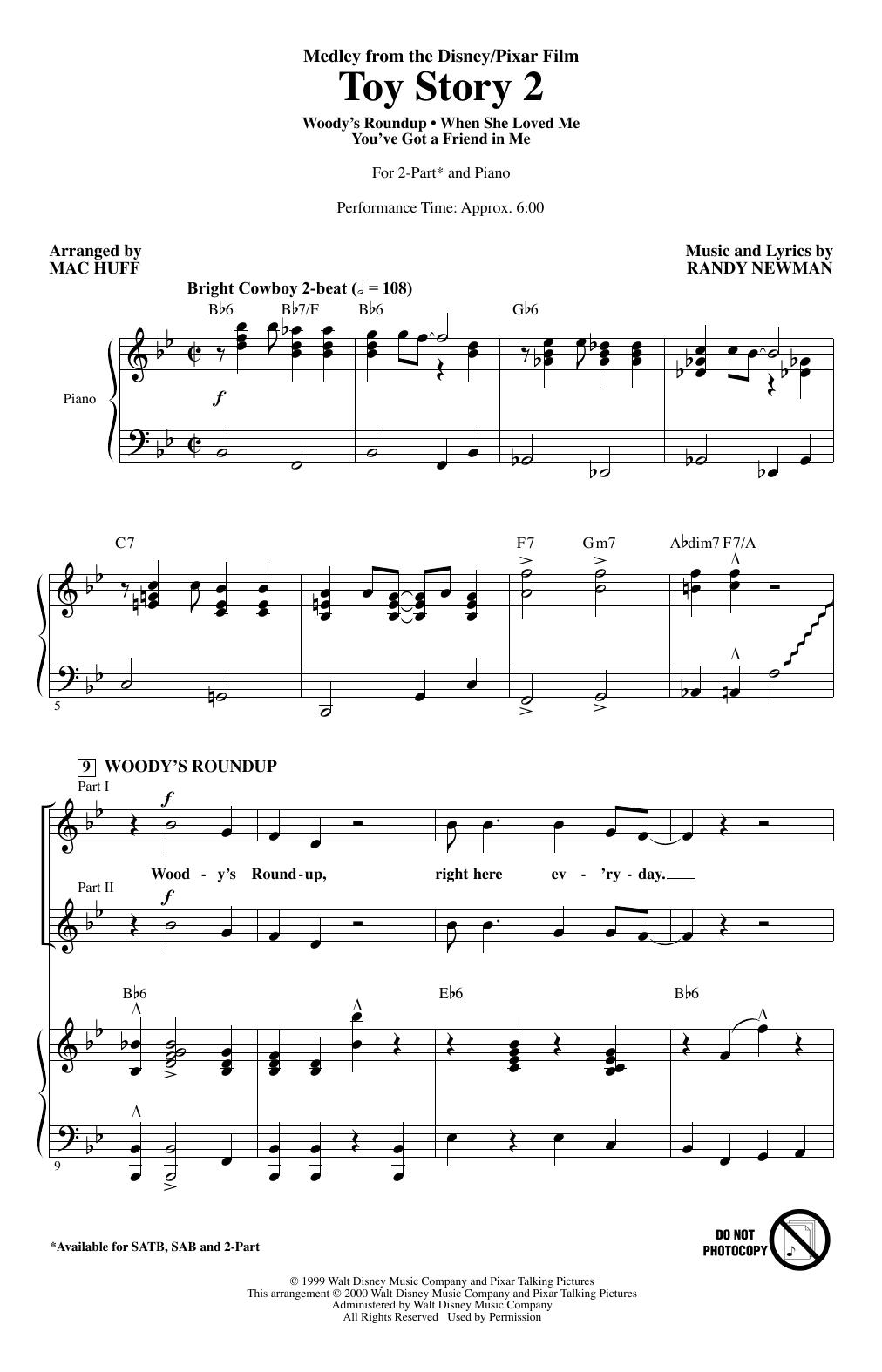 Toy Story 2 (Medley) (arr. Mac Huff) (2-Part Choir)