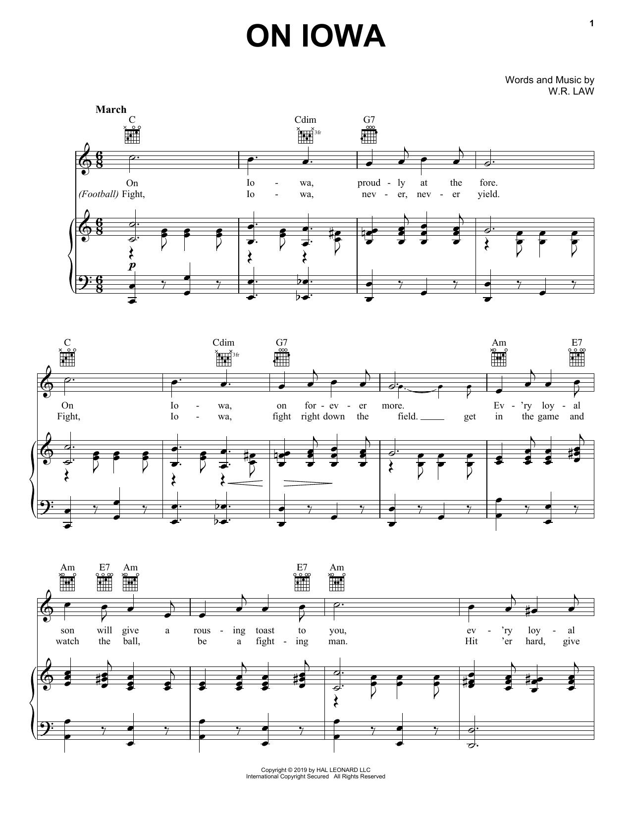 On Iowa (Piano, Vocal & Guitar (Right-Hand Melody))