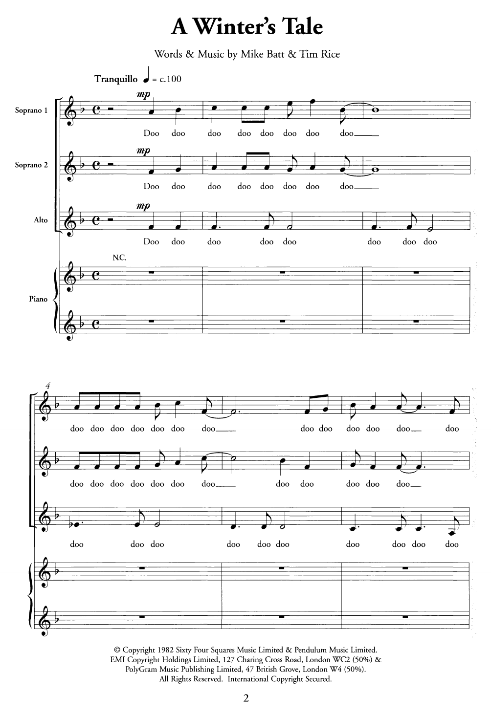 A Winter's Tale Sheet Music