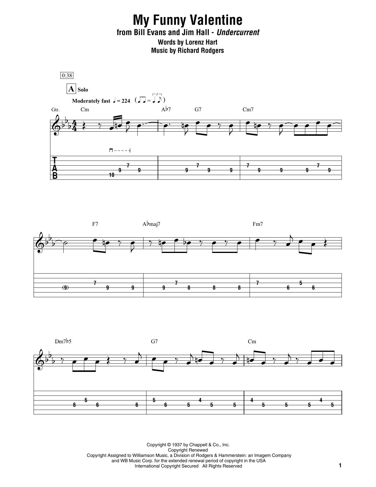 My Funny Valentine (Electric Guitar Transcription)