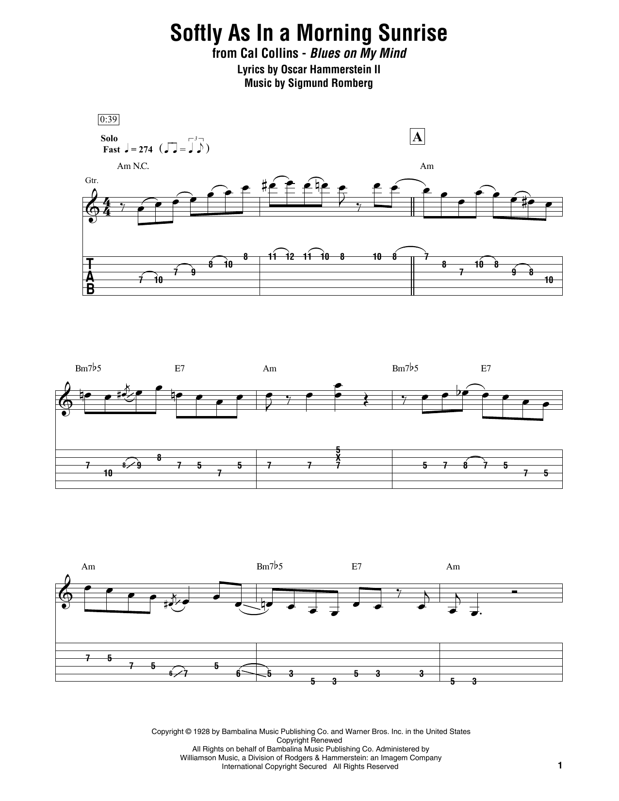 Softly As In A Morning Sunrise (Electric Guitar Transcription)