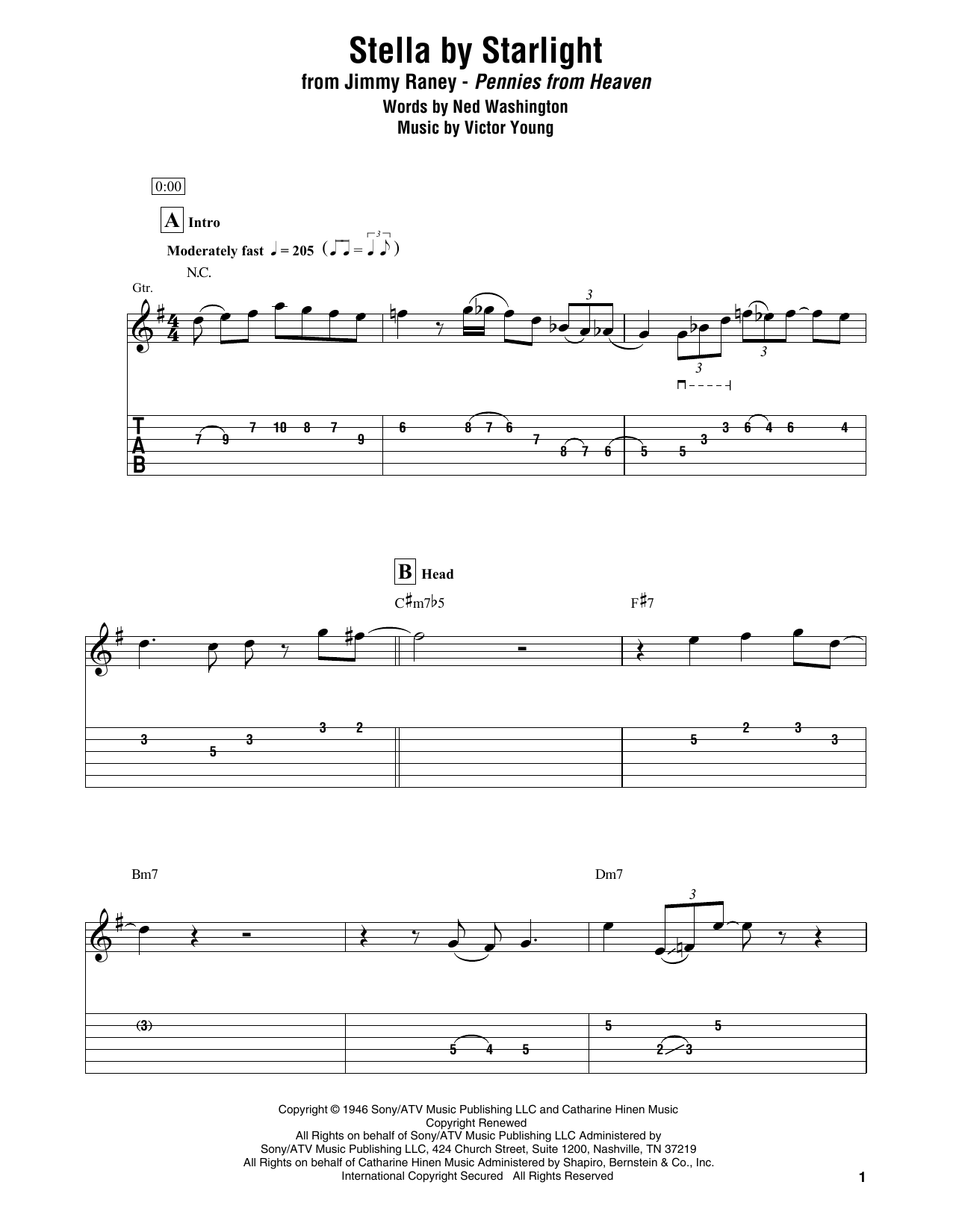 Stella By Starlight (Electric Guitar Transcription)