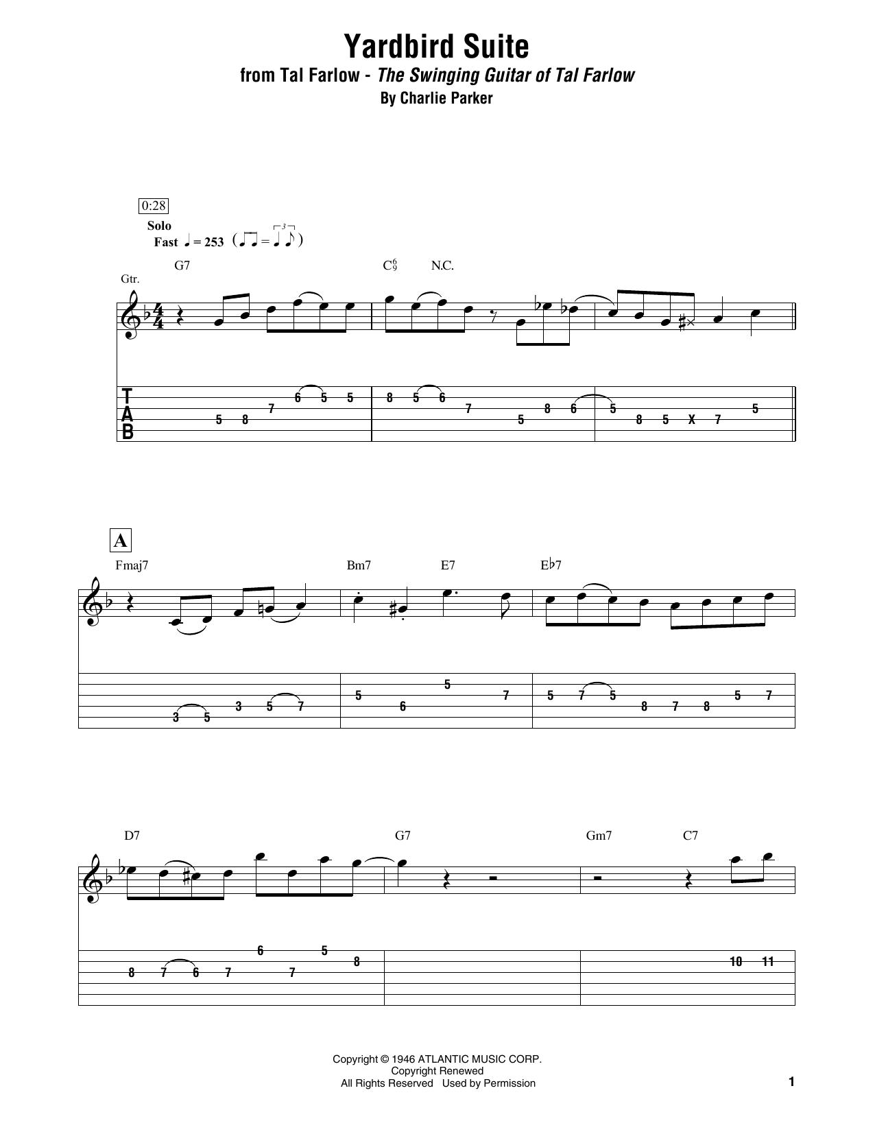 Yardbird Suite (Electric Guitar Transcription)
