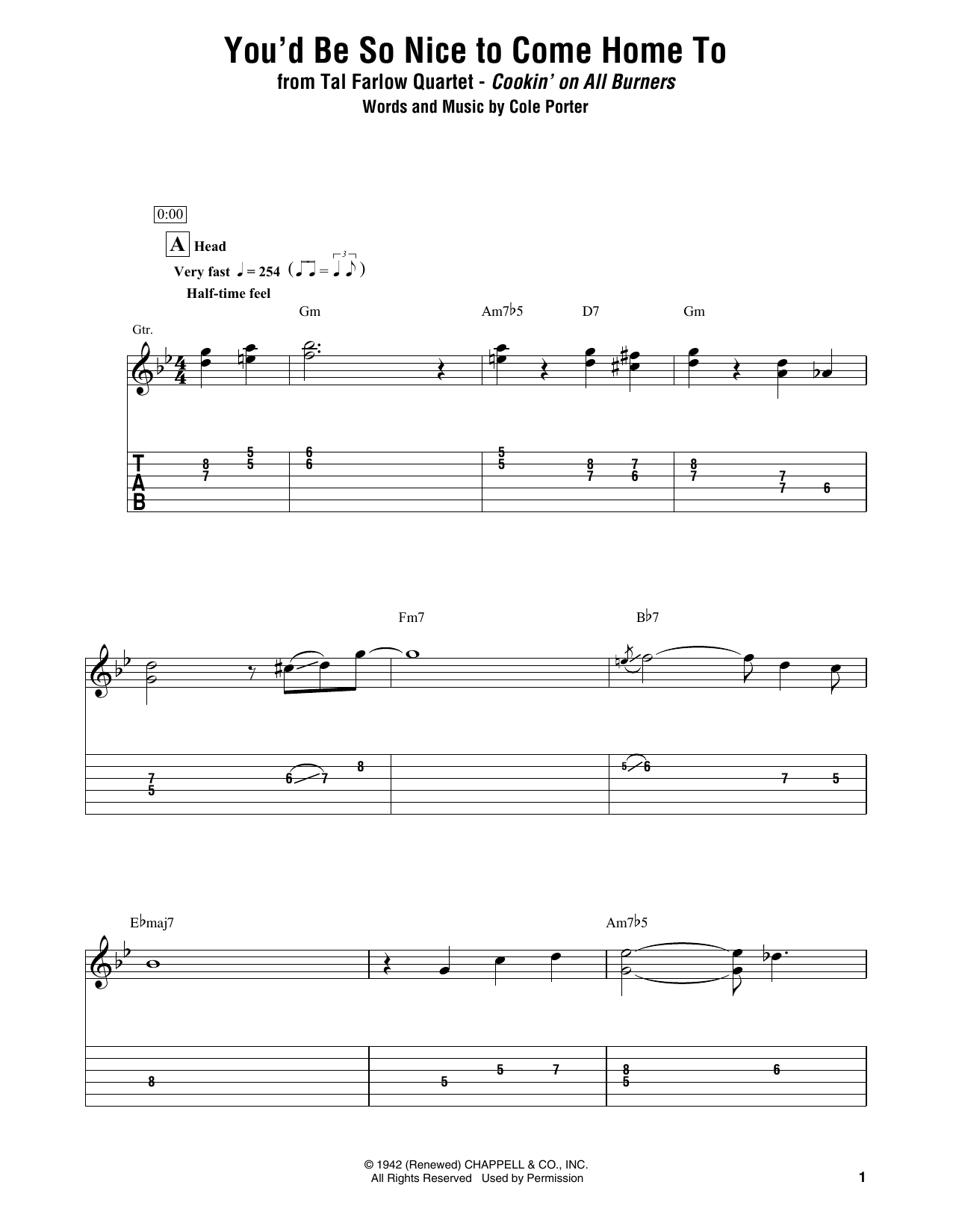 You'd Be So Nice To Come Home To (Electric Guitar Transcription)