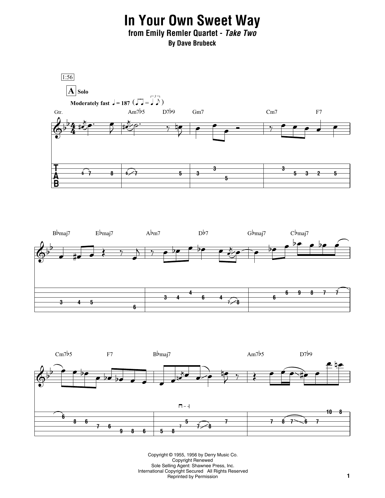 In Your Own Sweet Way (Electric Guitar Transcription)