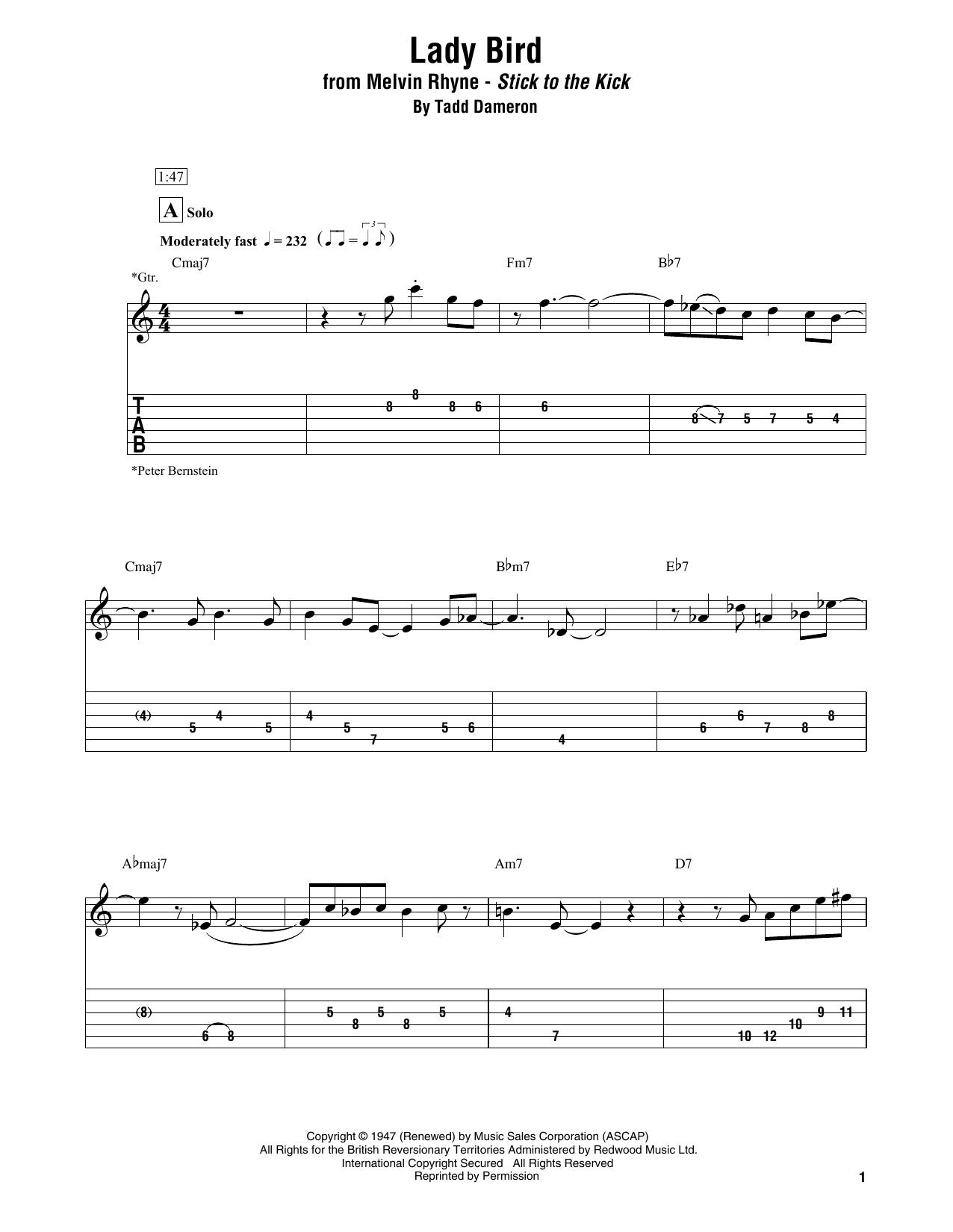 Lady Bird (Electric Guitar Transcription)