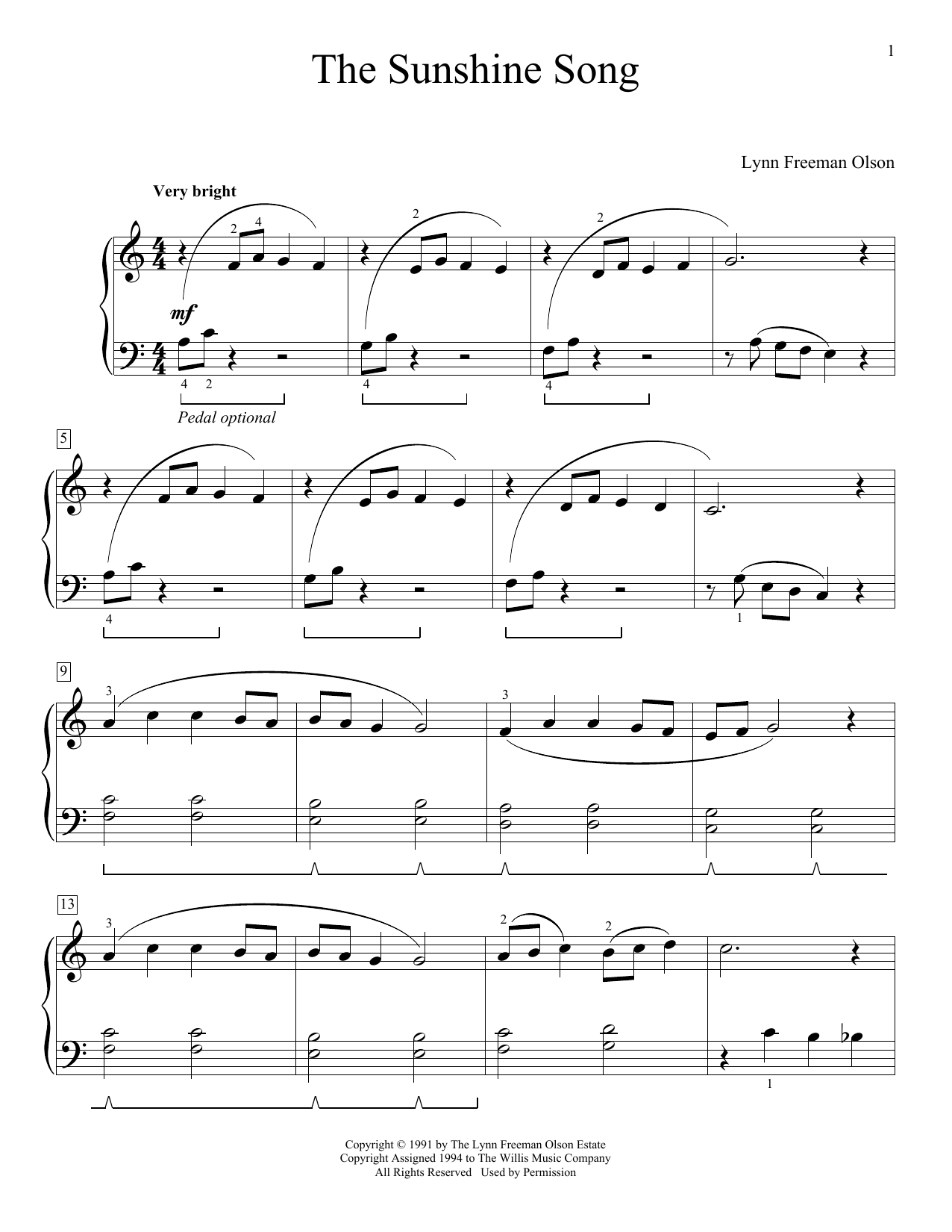 The Sunshine Song (Educational Piano)