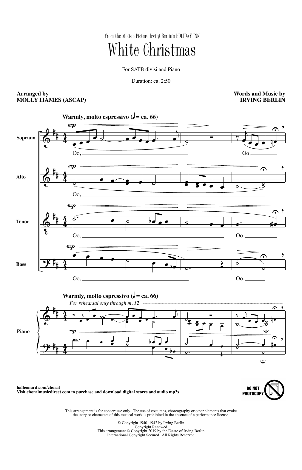 White Christmas (from Holiday Inn) (arr. Molly Ijames) Digitale Noten