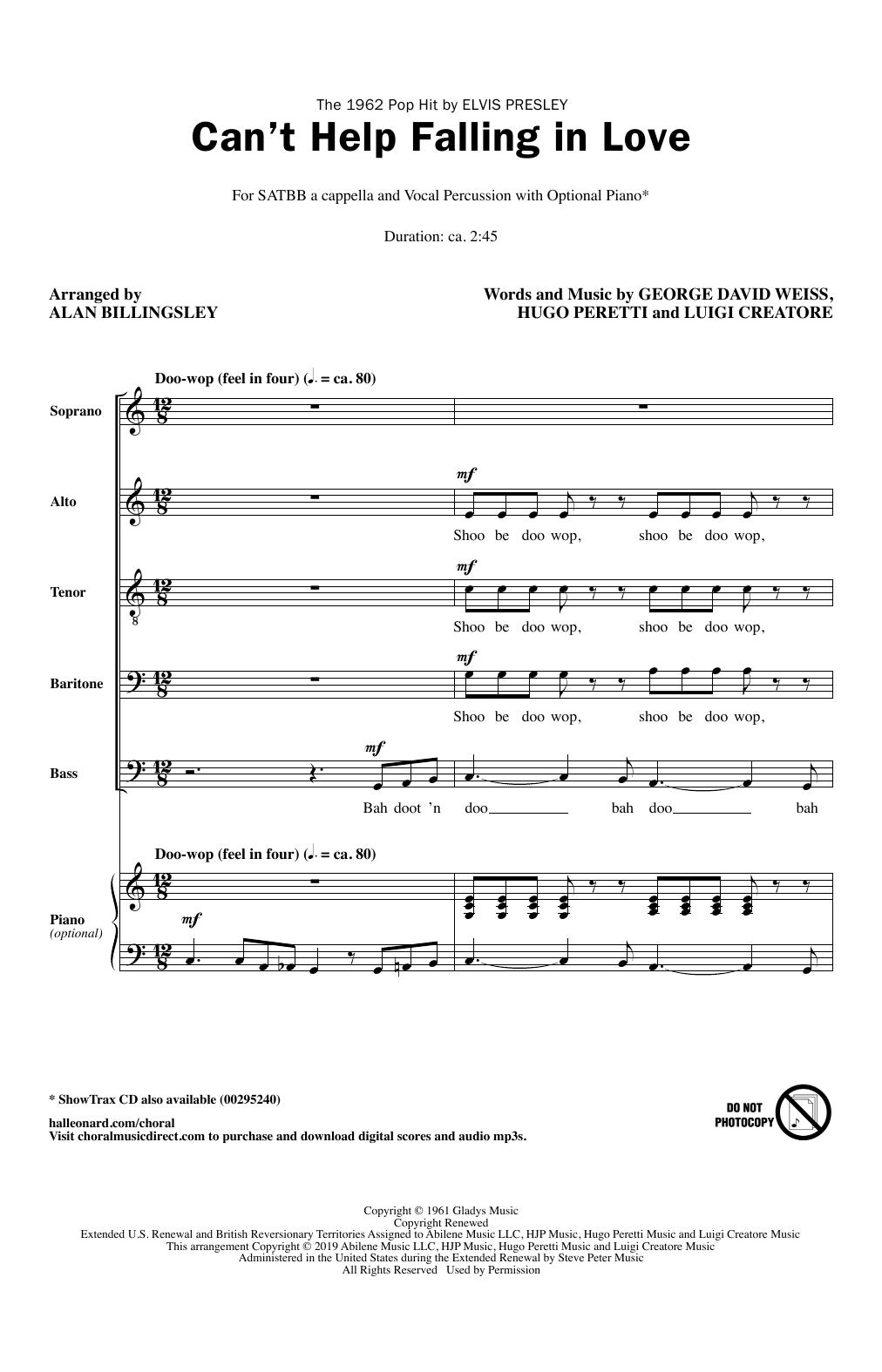 Can't Help Falling In Love (arr. Alan Billingsley) (SATB Choir)