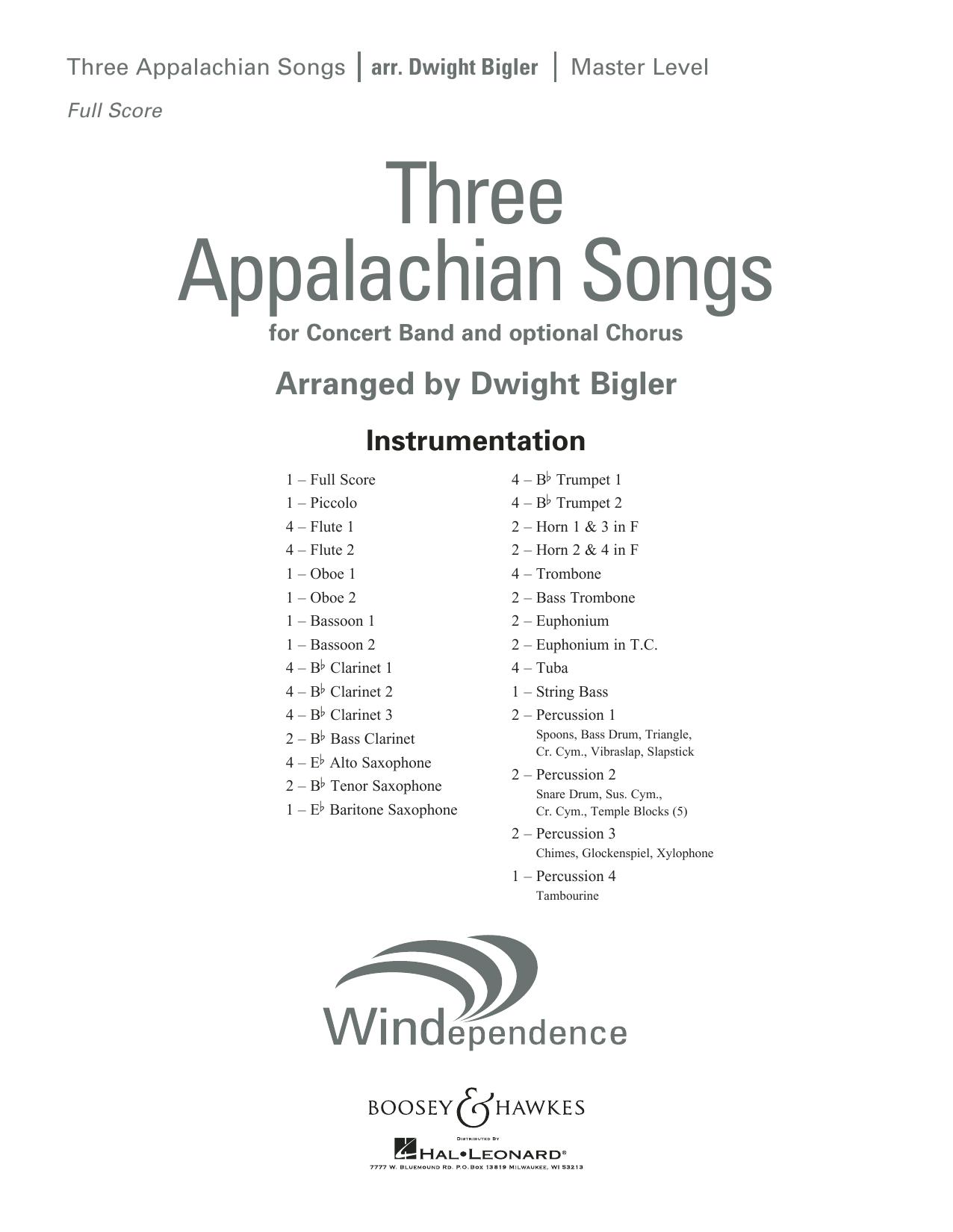 Three Appalachian Songs - Band Music Download