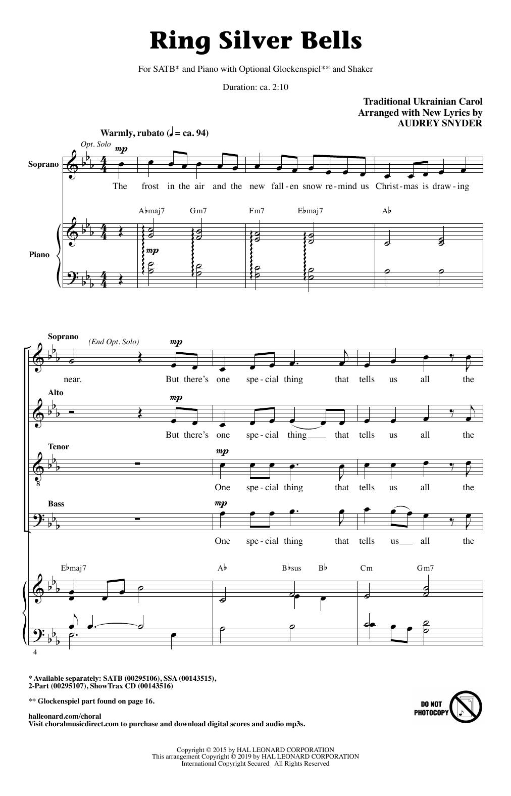 Ring Silver Bells (arr. Audrey Snyder) (SATB Choir)