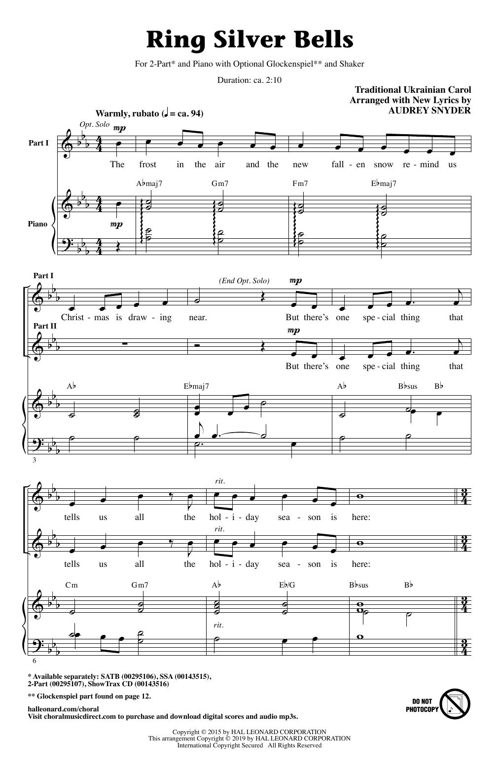 Ring Silver Bells (arr. Audrey Snyder) (2-Part Choir)