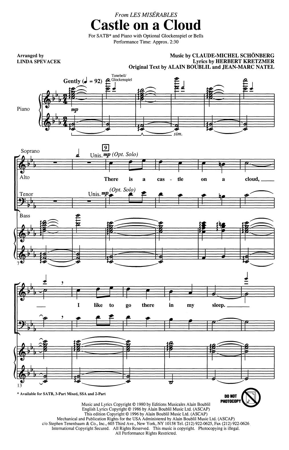 Castle On A Cloud (from Les Miserables) (arr. Linda Spevacek) (SATB Choir)