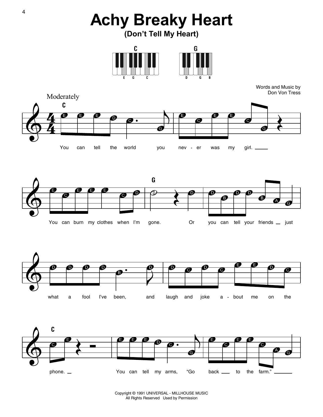 Achy Breaky Heart (Don't Tell My Heart) (Super Easy Piano)