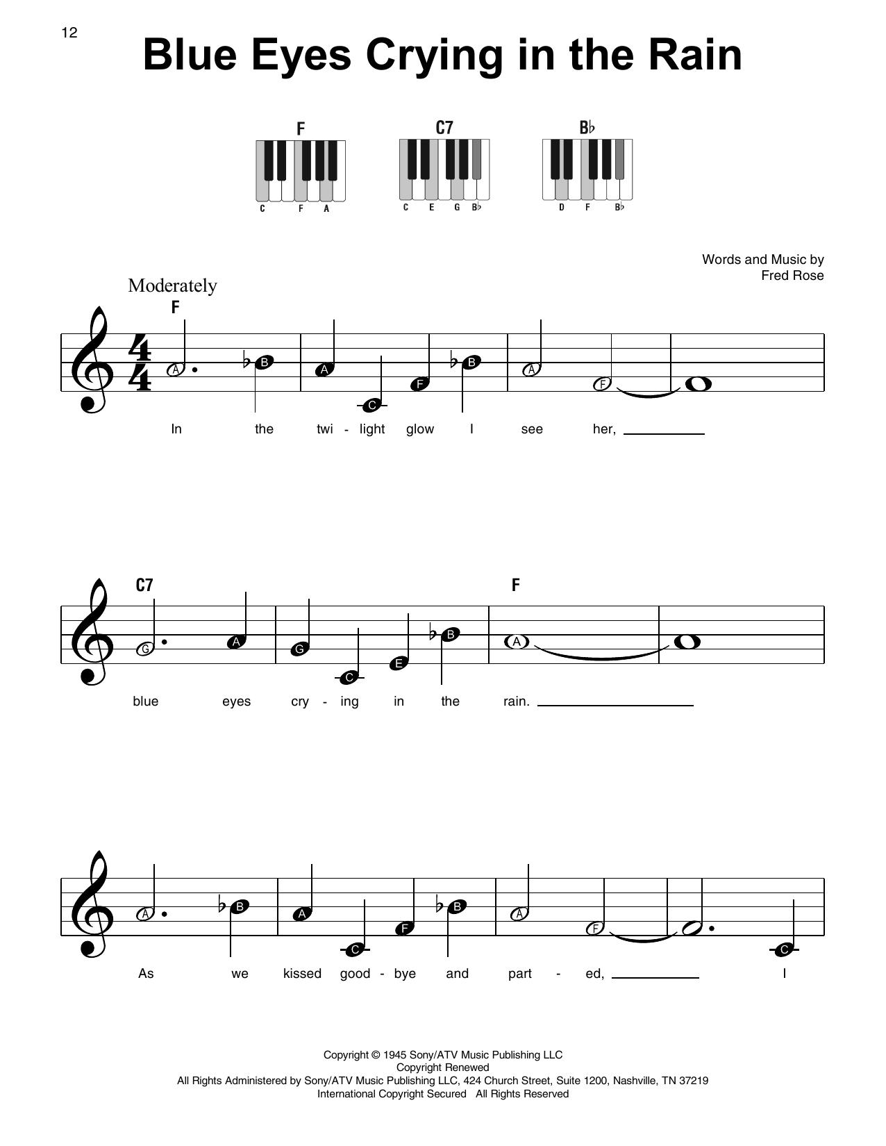 Blue Eyes Crying In The Rain Noten   Willie Nelson   Klavier, sehr leicht  Super Easy