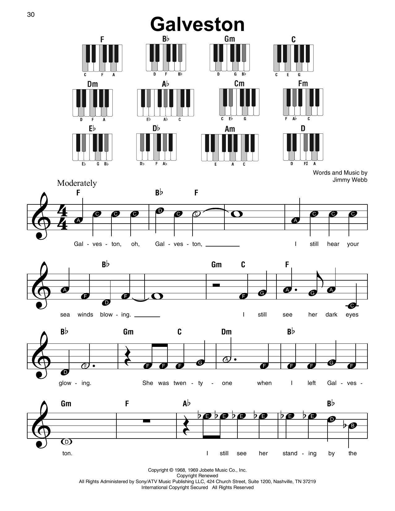 Galveston (Super Easy Piano)