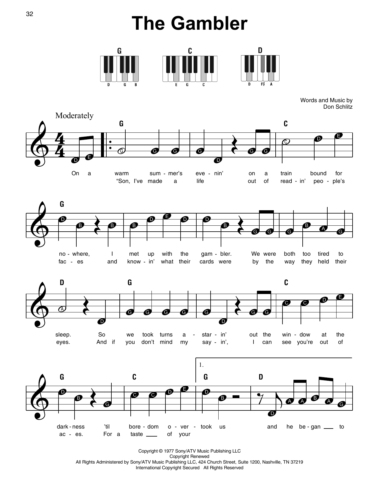 The Gambler (Super Easy Piano)