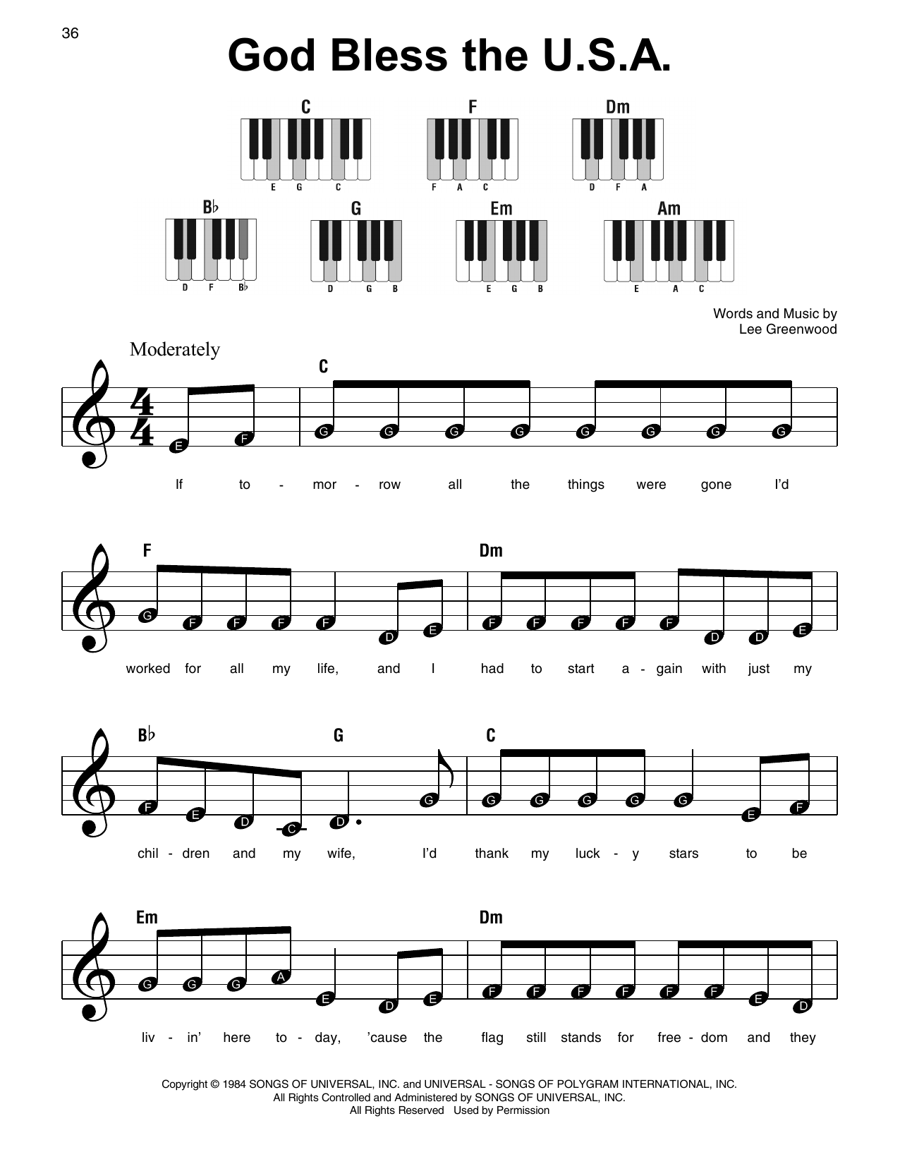 God Bless The U.S.A. (Super Easy Piano)