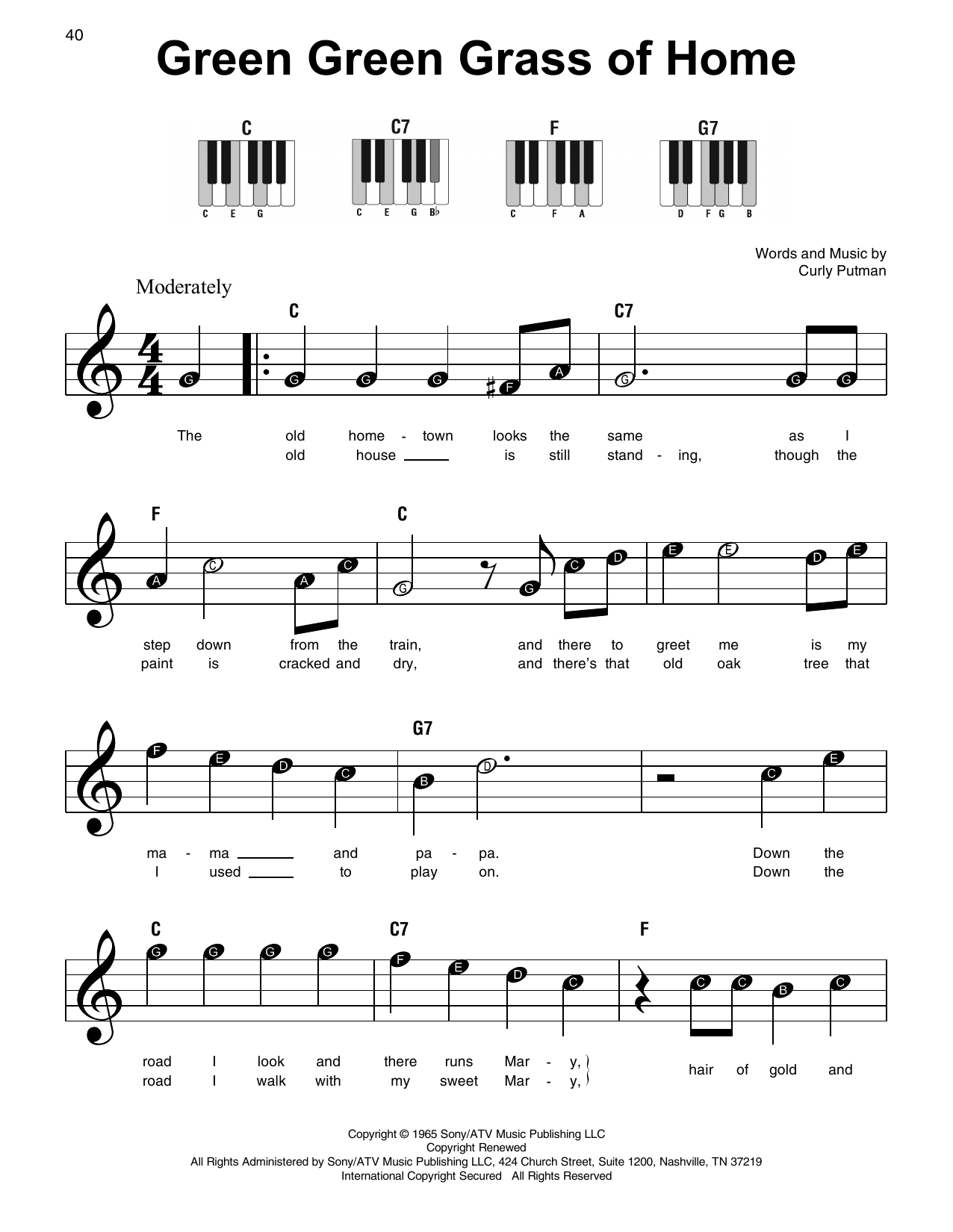 Green Green Grass Of Home (Super Easy Piano)