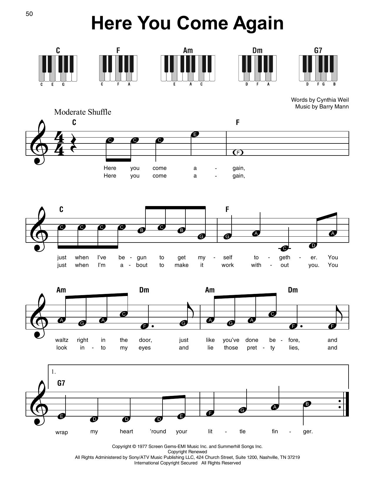Here You Come Again (Super Easy Piano)