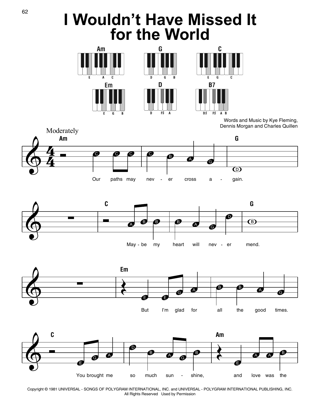 I Wouldn't Have Missed It For The World (Super Easy Piano)