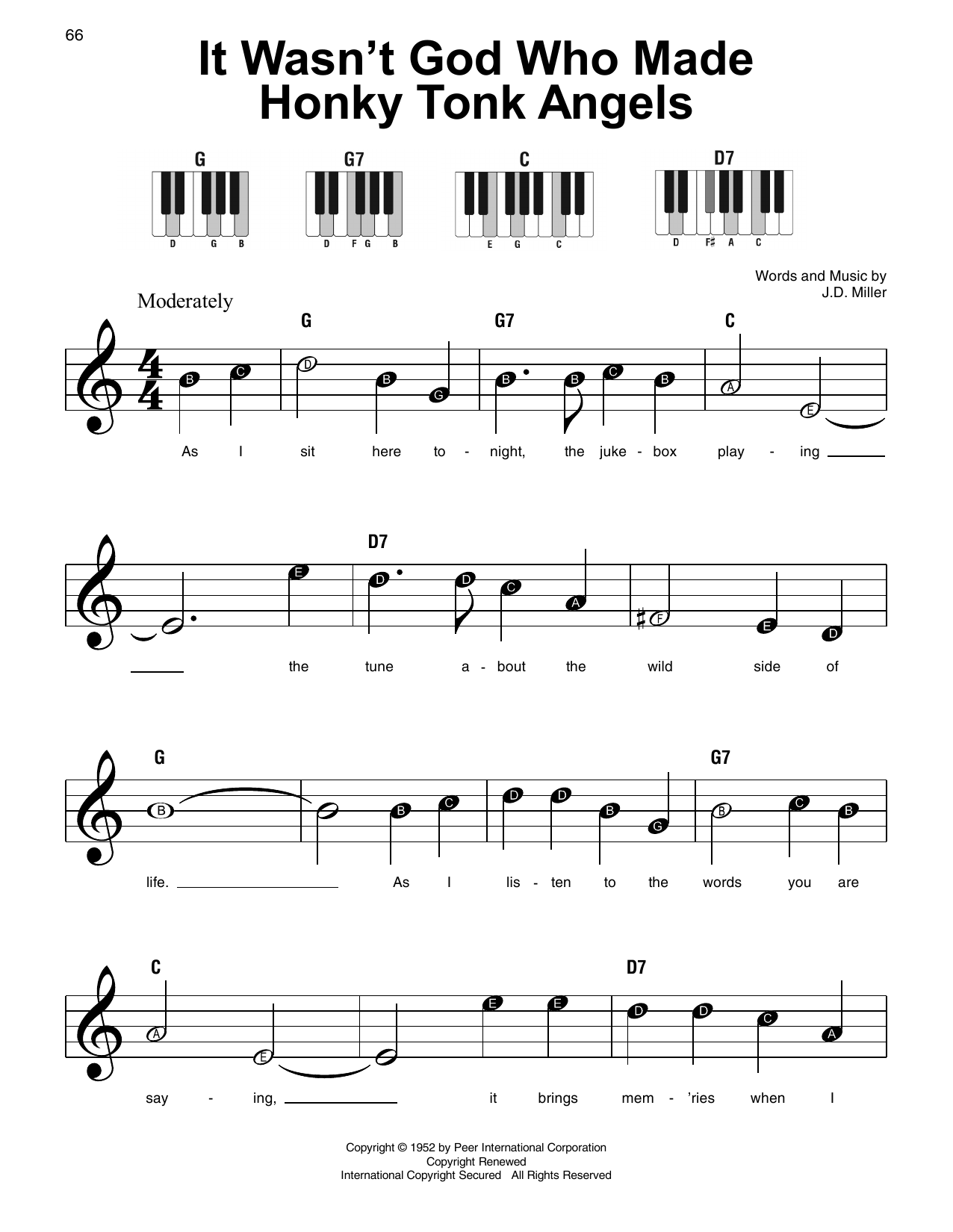 It Wasn't God Who Made Honky Tonk Angels (Super Easy Piano)