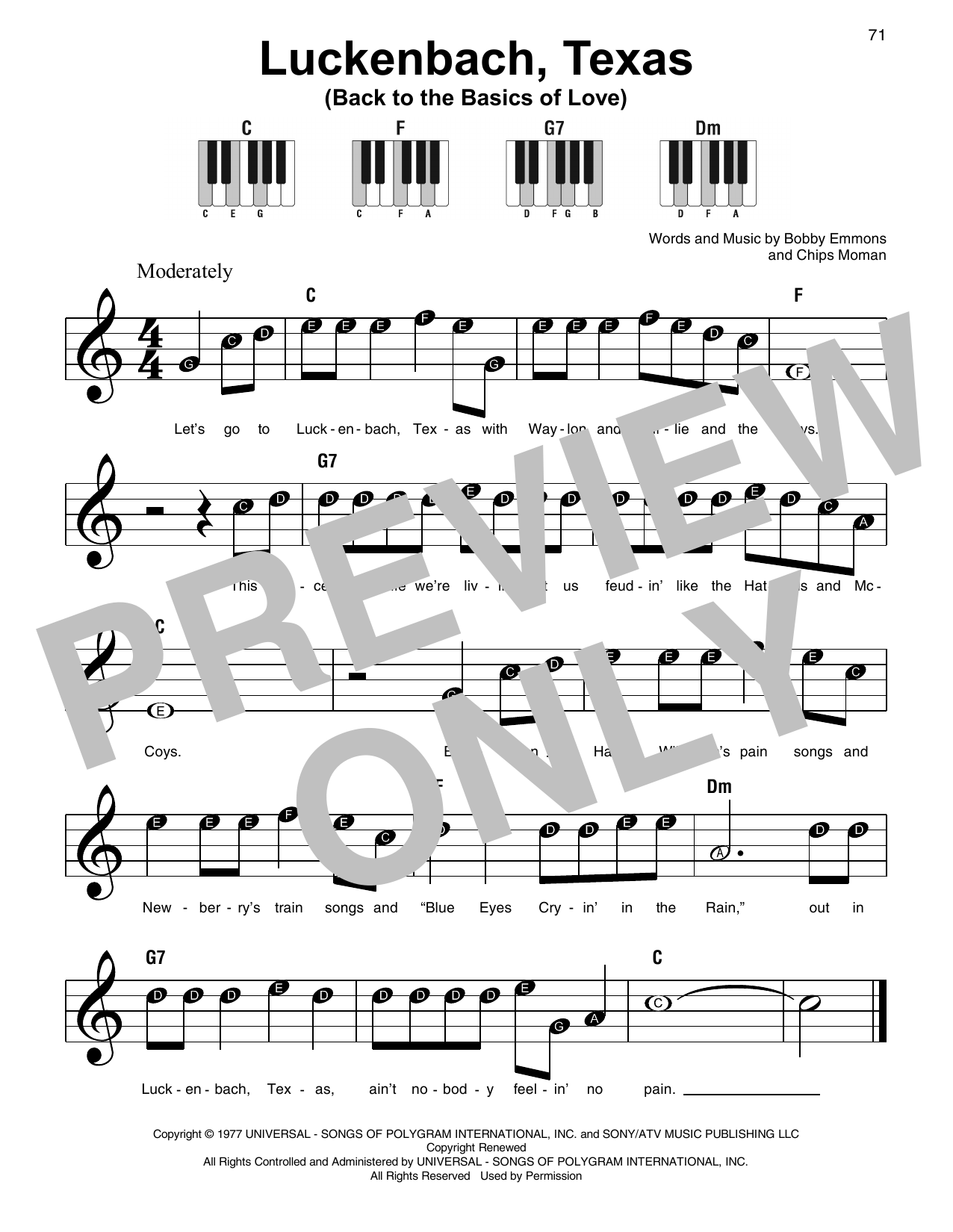 Luckenbach, Texas (Back To The Basics Of Love) (Super Easy Piano)