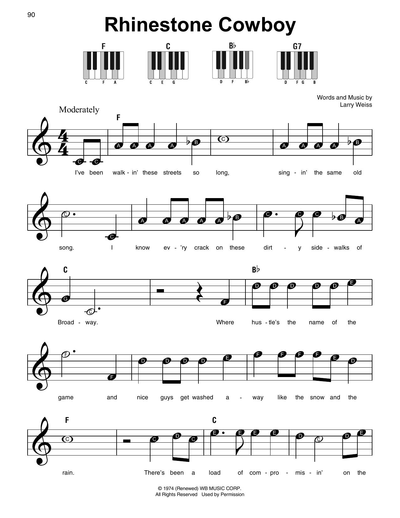 Rhinestone Cowboy (Super Easy Piano)