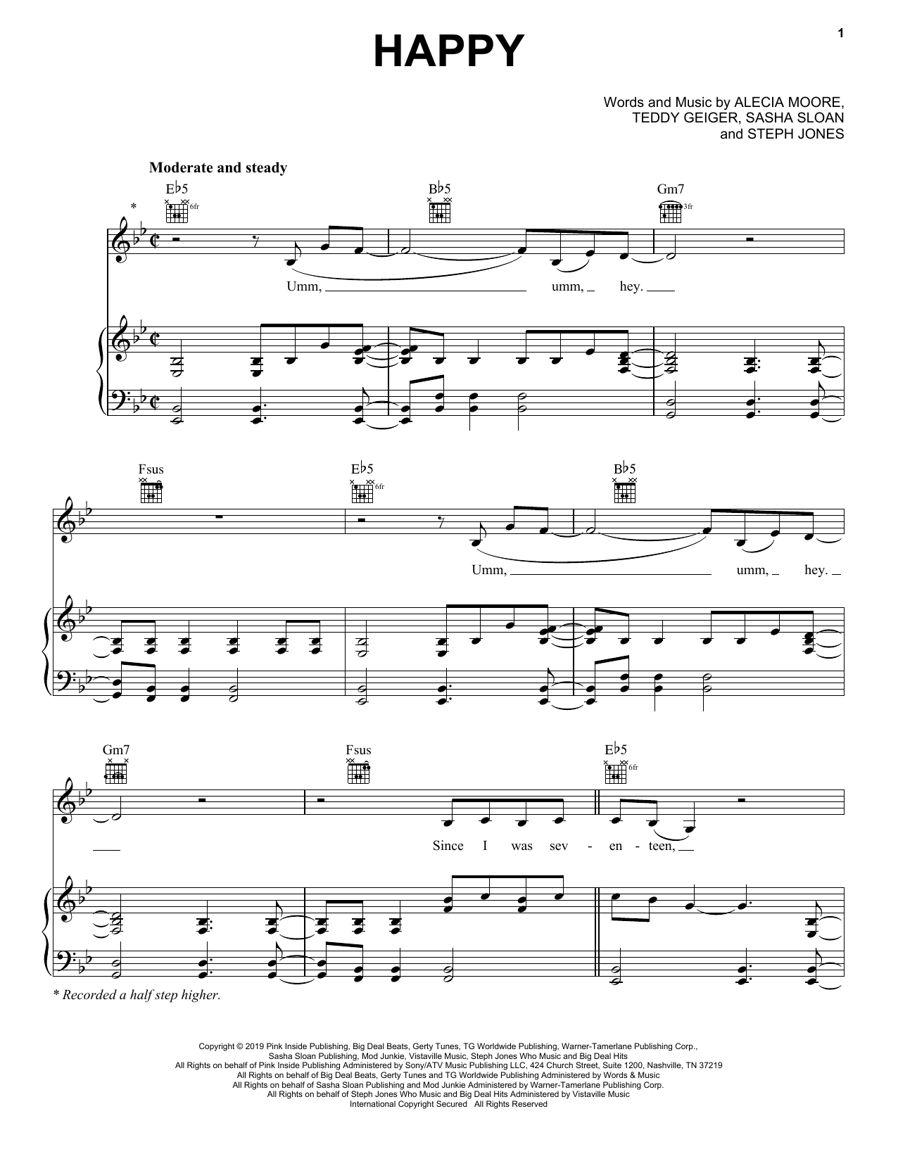 Happy (Piano, Vocal & Guitar (Right-Hand Melody))