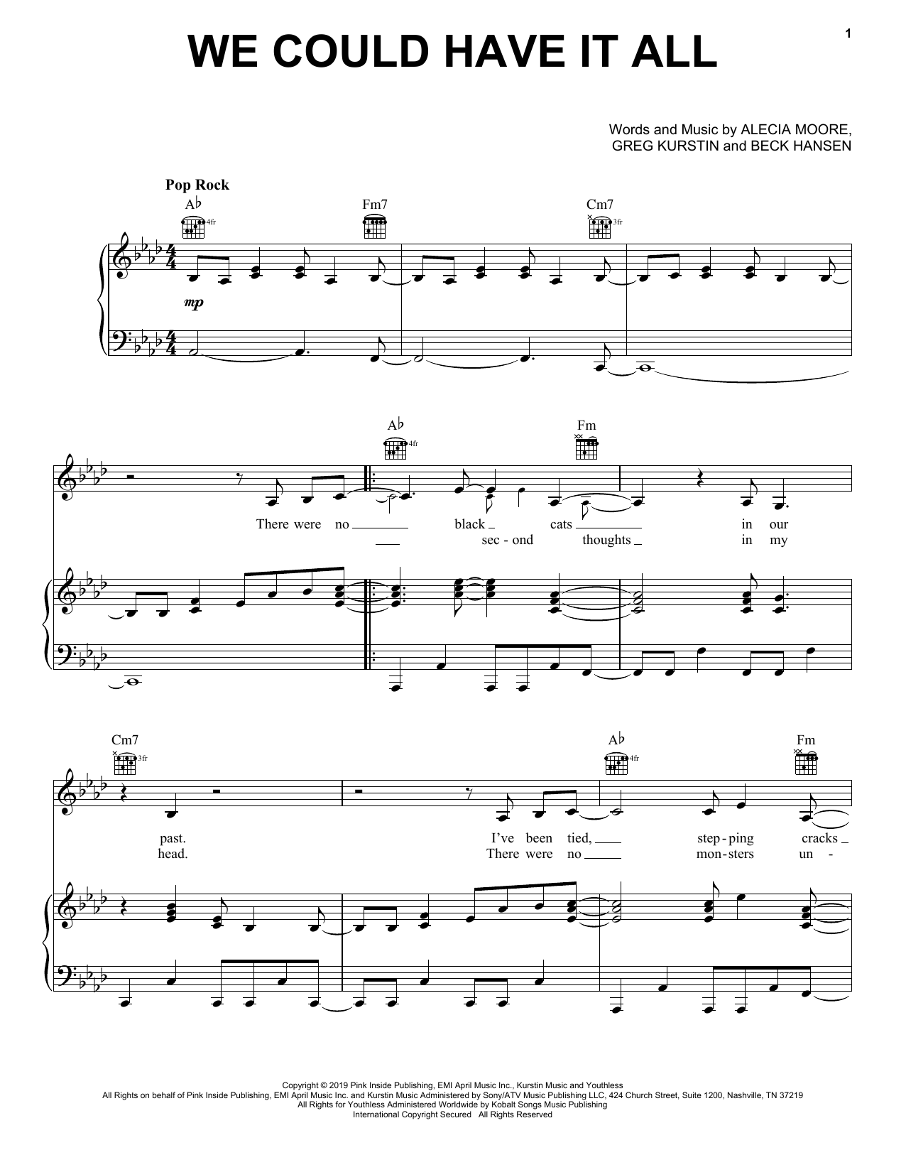 We Could Have It All (Piano, Vocal & Guitar (Right-Hand Melody))