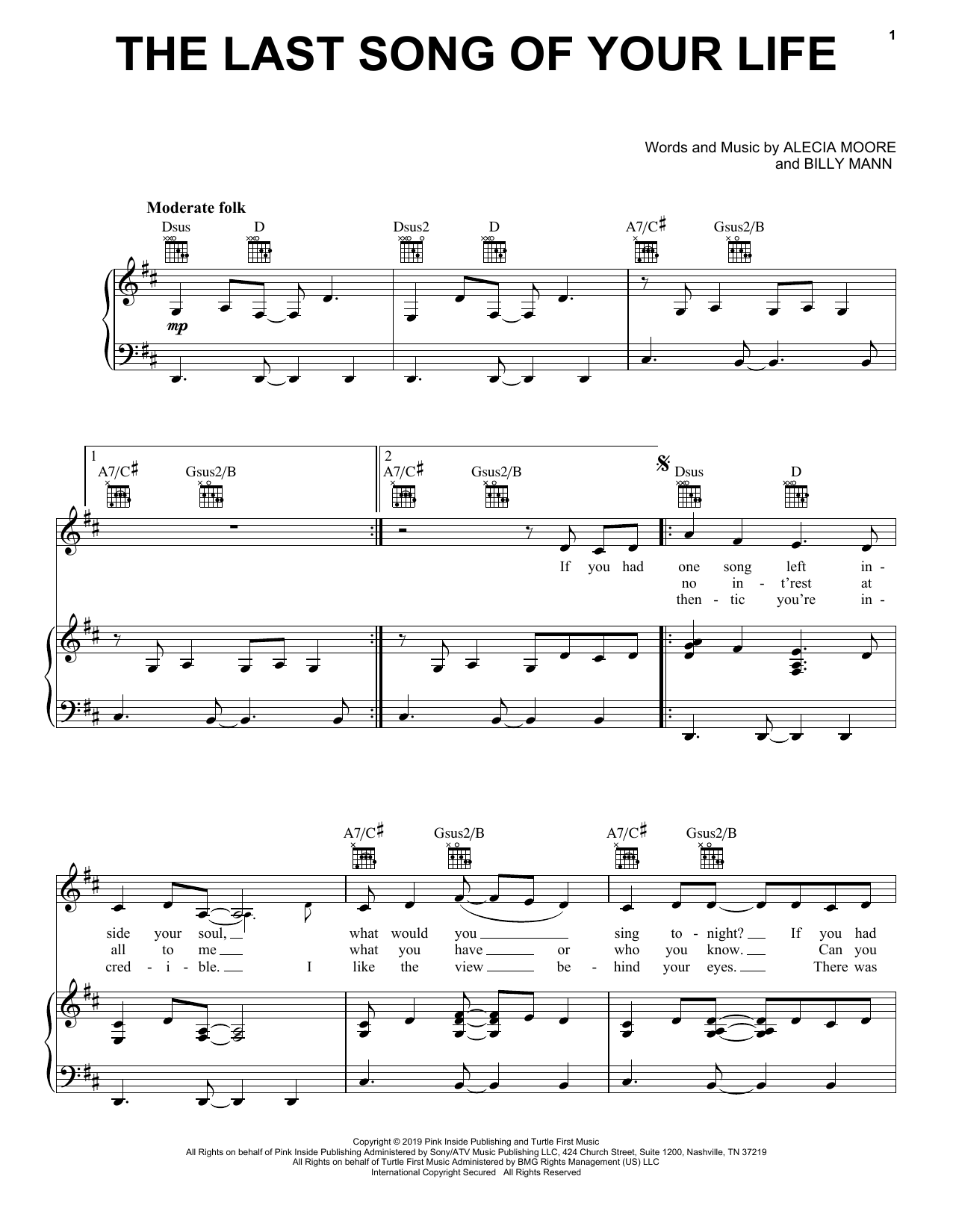 The Last Song Of Your Life (Piano, Vocal & Guitar (Right-Hand Melody))