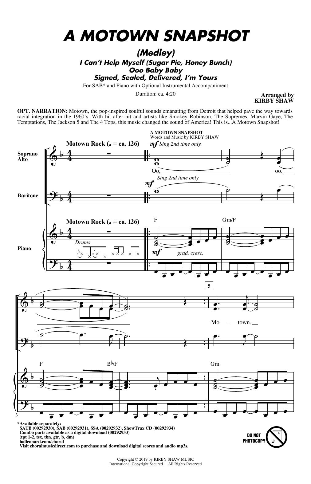 A Motown Snapshot (Medley) (SAB Choir)