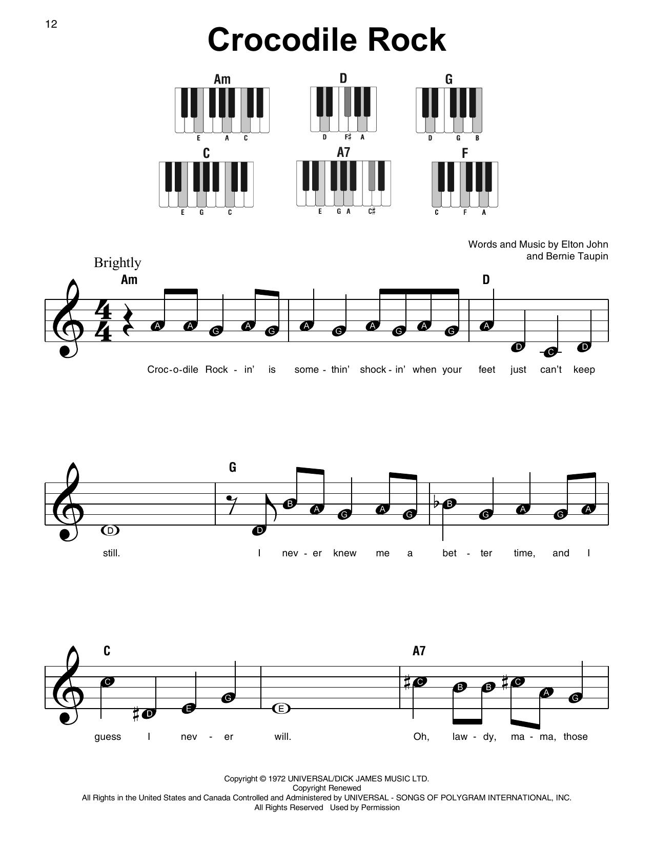 Crocodile Rock (Super Easy Piano)