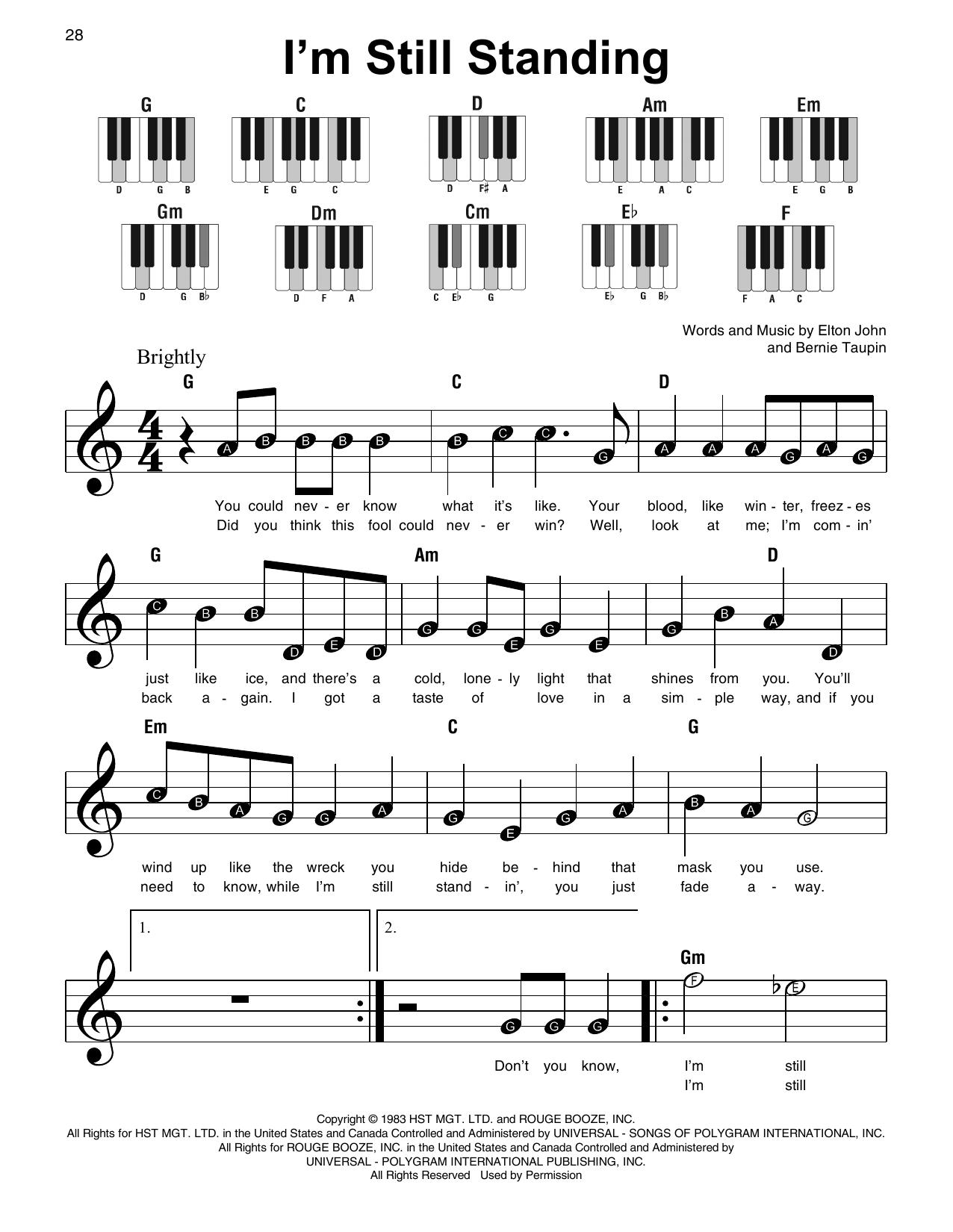 I'm Still Standing (Super Easy Piano)