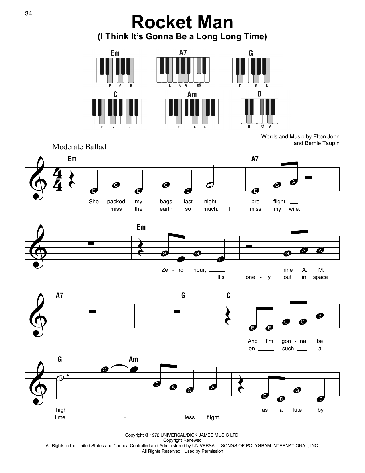 Rocket Man (I Think It's Gonna Be A Long Long Time) (Super Easy Piano)