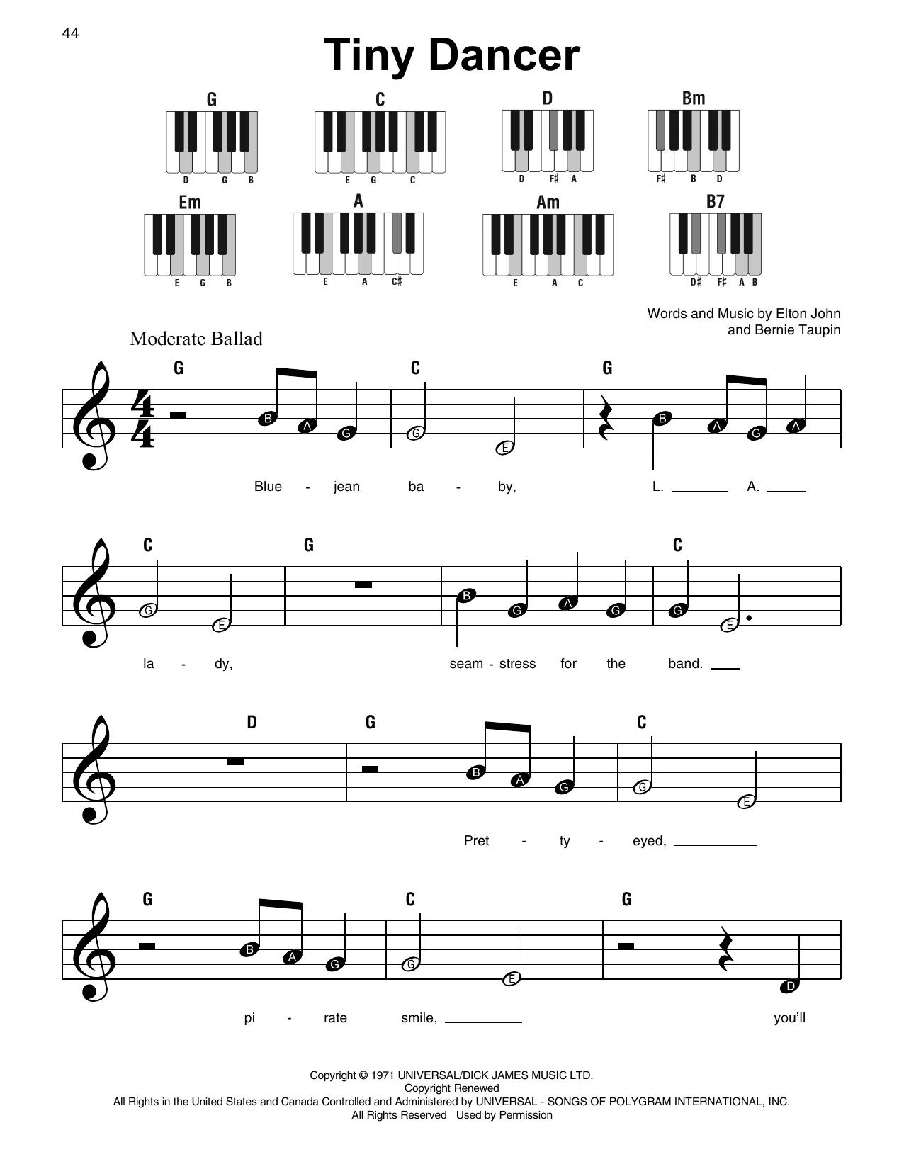 Tiny Dancer (Super Easy Piano)