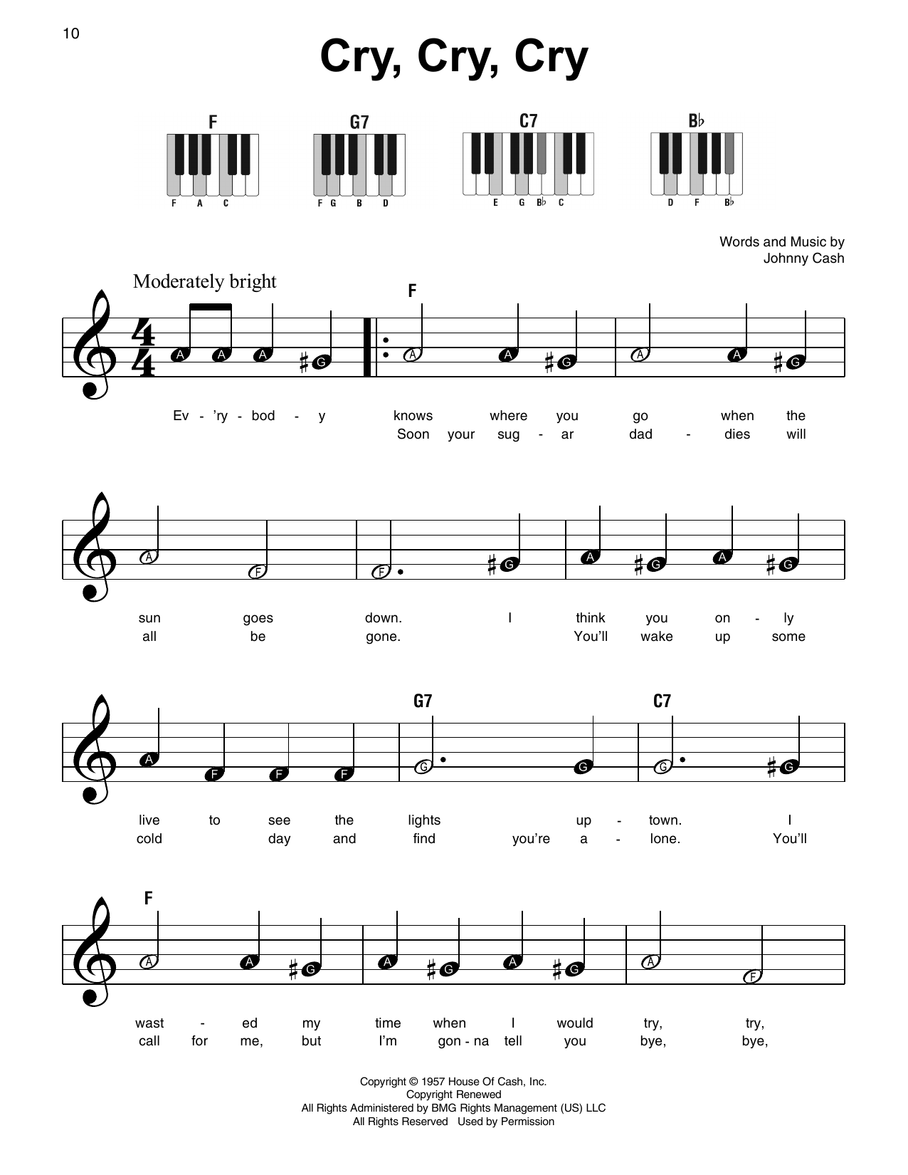 Cry, Cry, Cry Sheet Music
