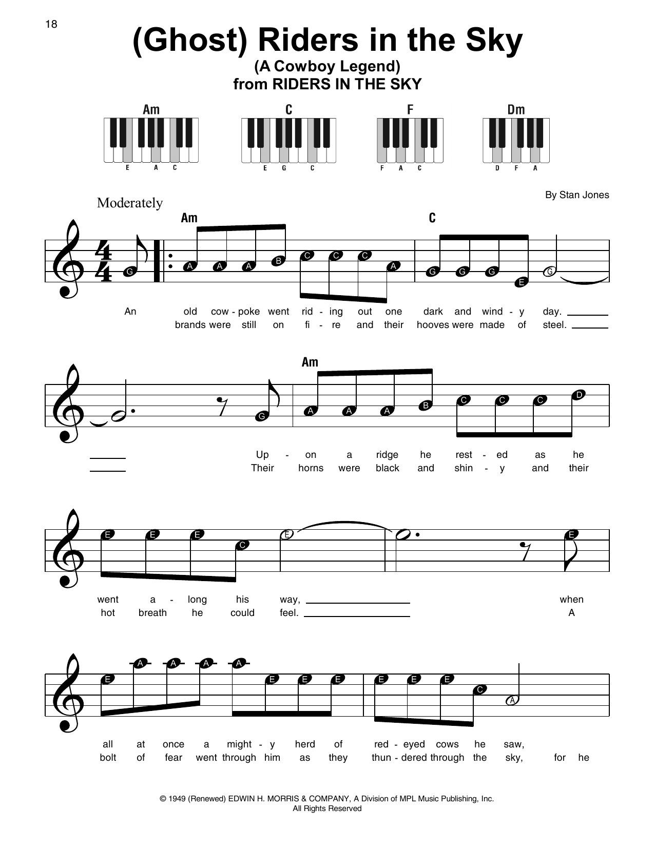 (Ghost) Riders In The Sky (A Cowboy Legend) (Super Easy Piano)