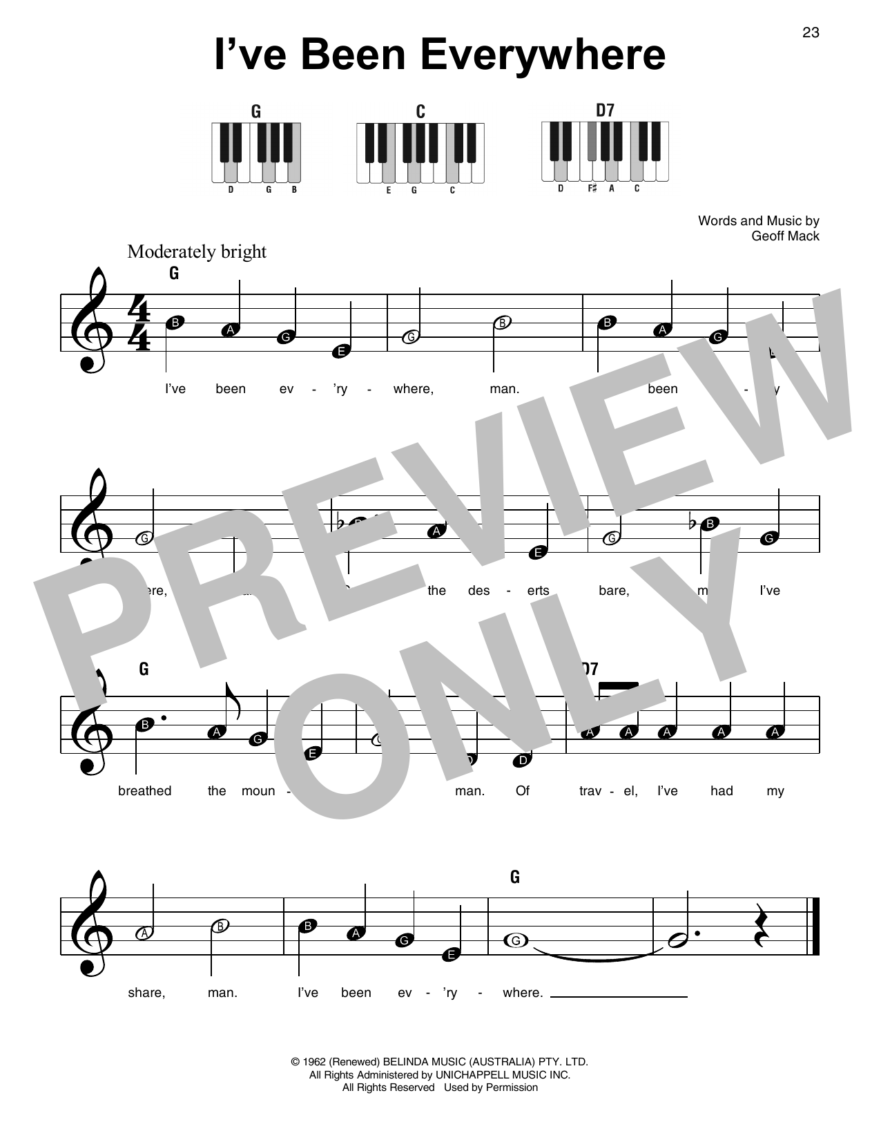 I've Been Everywhere (Super Easy Piano)