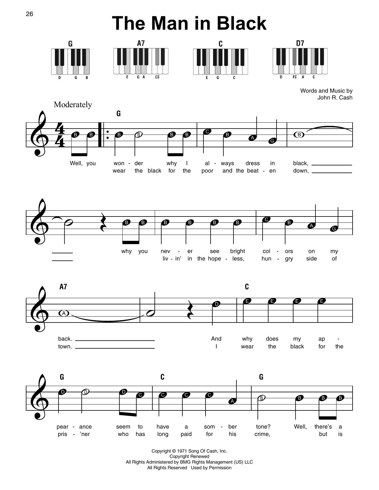 The Man In Black (Super Easy Piano)