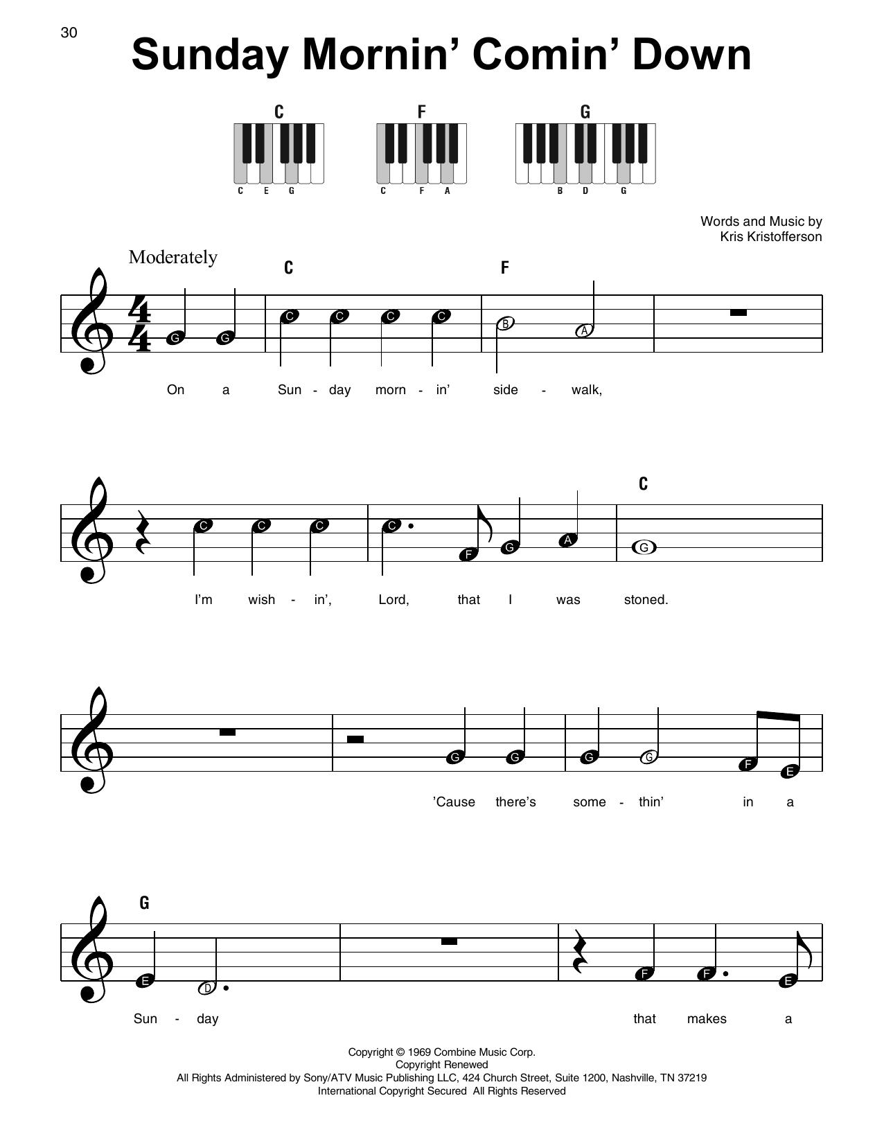 Sunday Mornin' Comin' Down (Super Easy Piano)