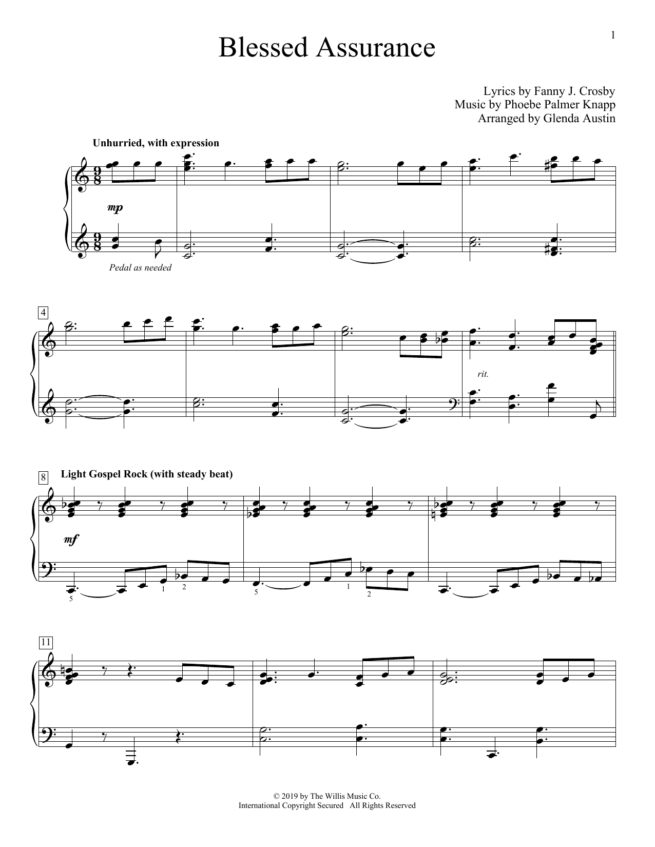 Blessed Assurance (arr. Glenda Austin) (Educational Piano)