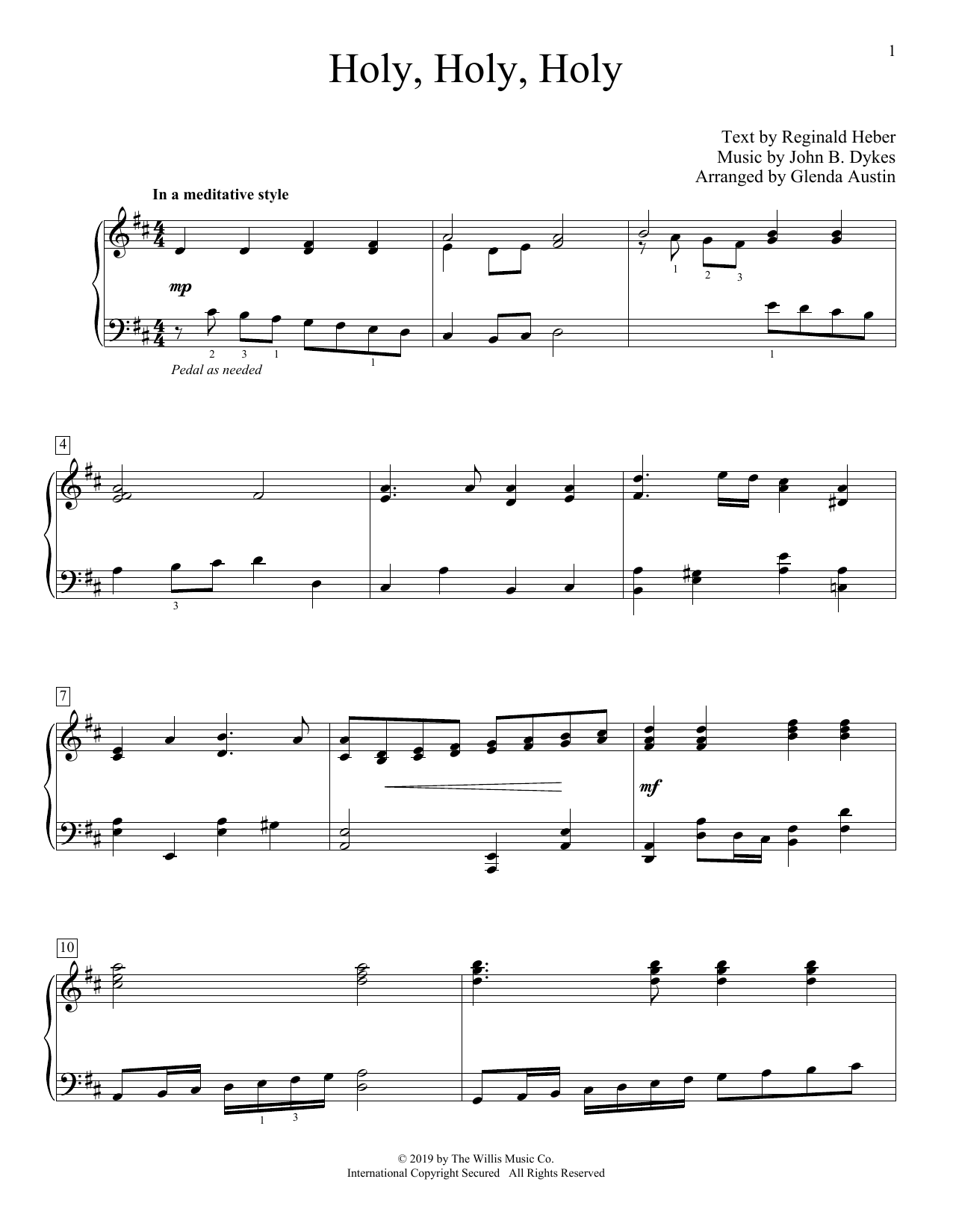 Holy, Holy, Holy (arr. Glenda Austin) (Educational Piano)