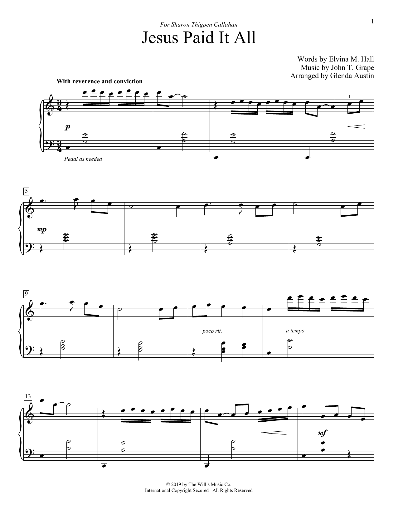 Jesus Paid It All (arr. Glenda Austin) (Educational Piano)