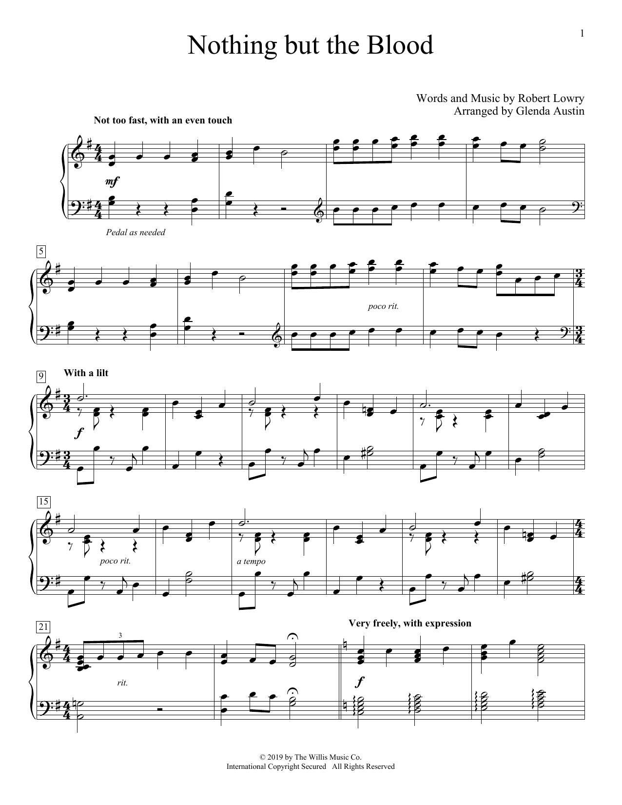 Nothing But The Blood (arr. Glenda Austin) (Educational Piano)